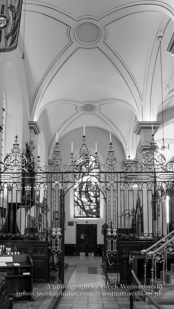 Derby Cathedral Rood Screen and Ceiling black and white vertical photography