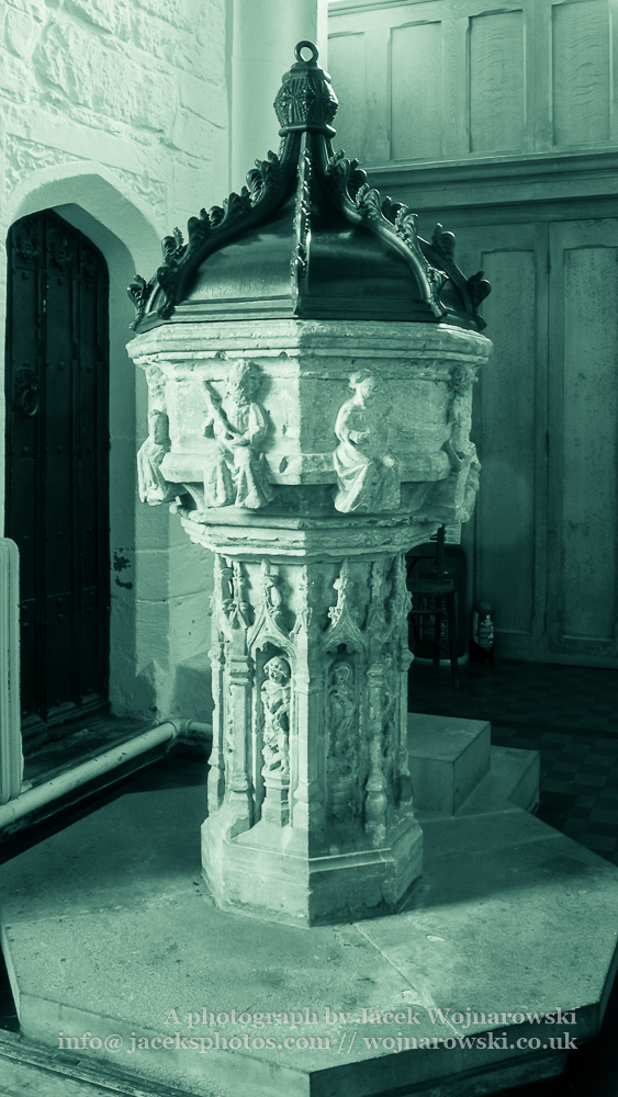 Church of St. Michael Font, The Parish of Minehead, black and white photography split toning