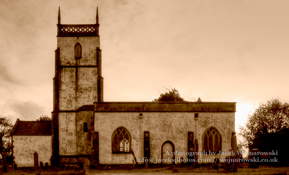 Church of The Blessed Virgin Mary South Facade HDR sepia 2 in Somerset, England is medieval in origin but underwent extensive renovation in the 18th century