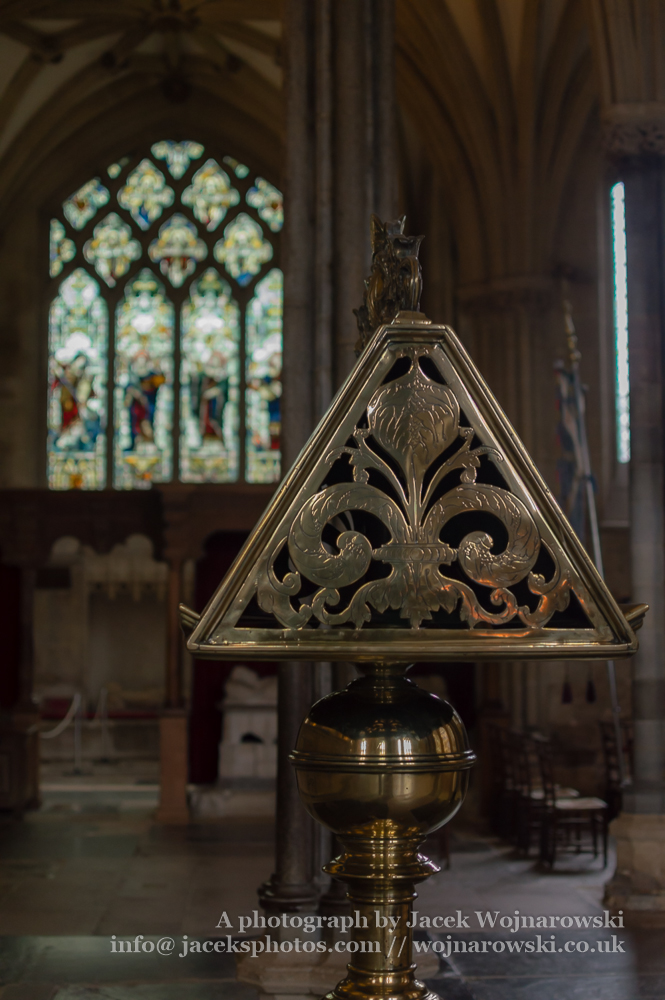 Side View of Brass Lectern in Wells Cathedral
