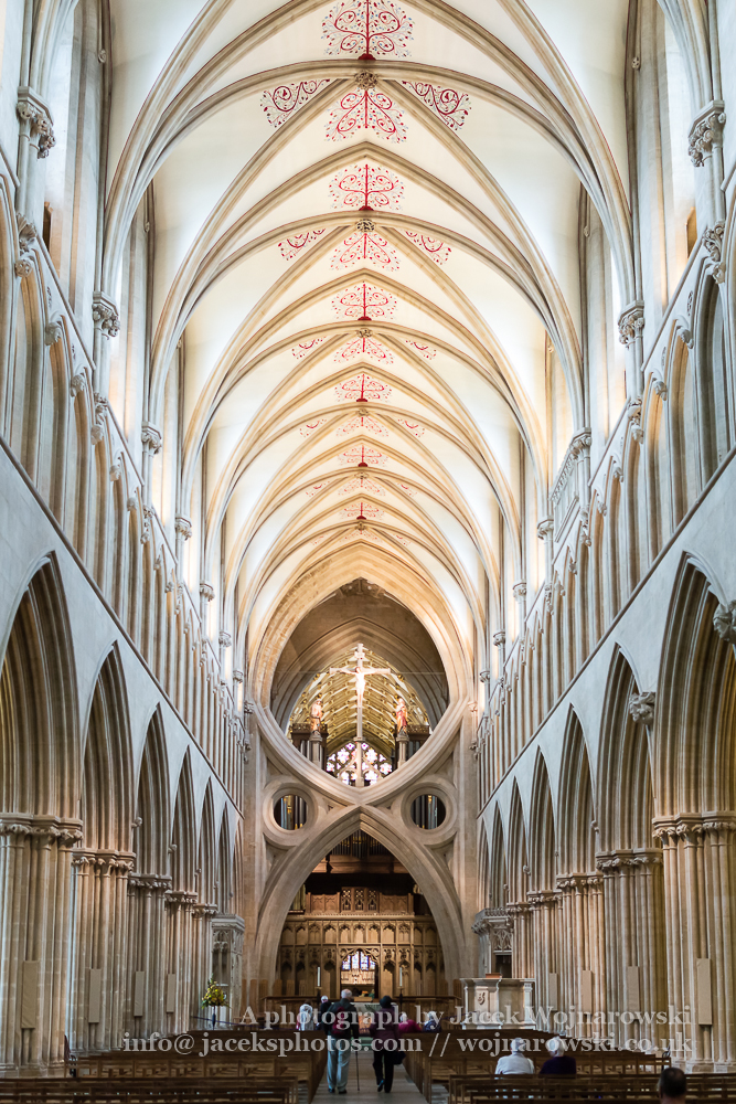 Wells Cathedral Nave Scissor Arch and Ceiling vertical photography