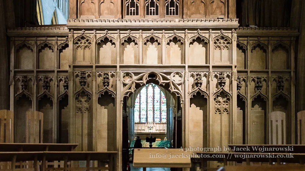 Wells Cathedral The rood screen viewed from the nave horizontal photography