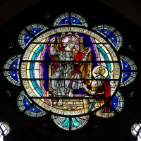 Bristol Cathedral Edward Colston Stained Glass Window close up A