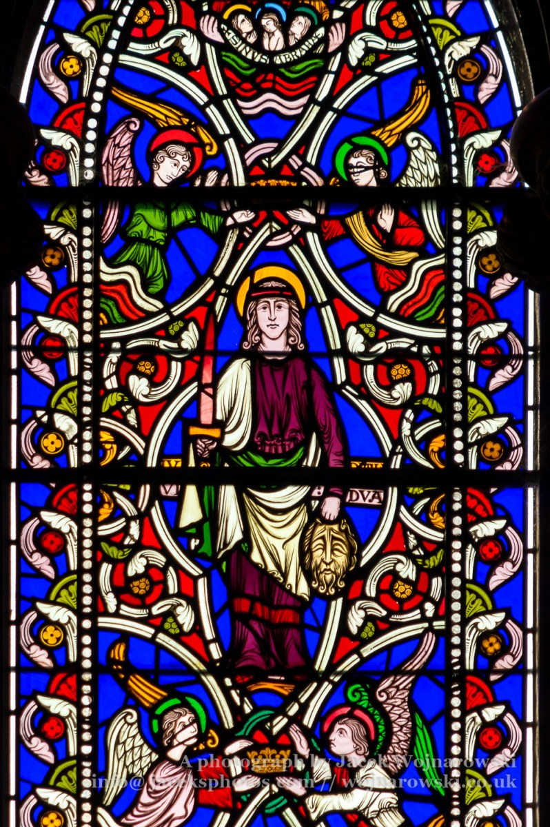Stained Glass in Worcester Cathedral - The Queen Adelaide Window close up G