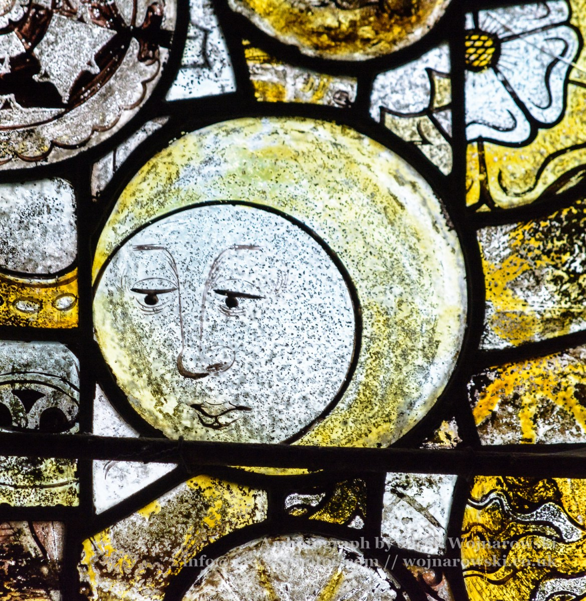 St Andrews Church Stained Glass Close up The Man in The Moon