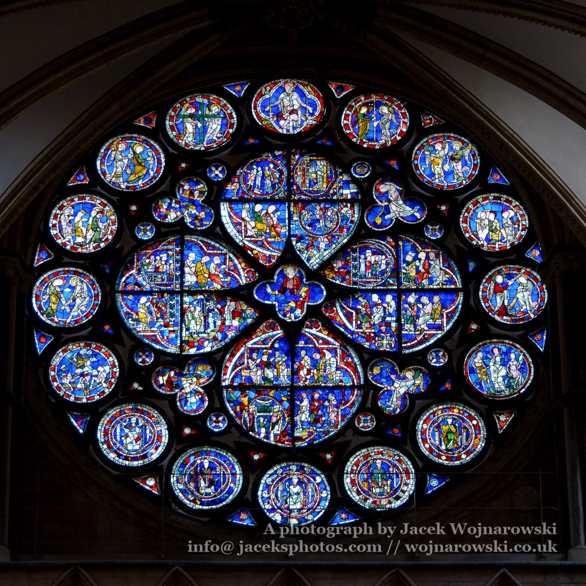 North Transept Rose - Dean's Eye, Stained Glass in Lincoln Cathedral