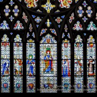 Stained Glass in Exeter Cathedral, West Window Lower Panel
