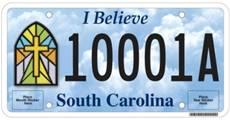 "Proposed ""I Believe"" License Plate - South Carolina"