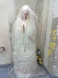 Bubble-wrapped statue of the Virgin Mary. Photo by Eoin O'Mahony.