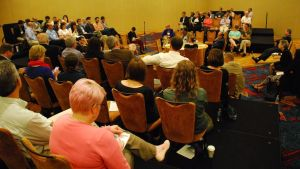 A full room during the panel that included Sylvester Johnson, Thomas Tweed, and Kristy Nabhan-Warren. Photo courtesy of Eric Hamilton.
