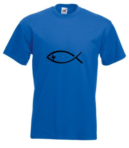Fish With Cross Blue T-shirt