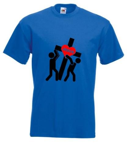 Jesus Carrying Cross Blue Tee