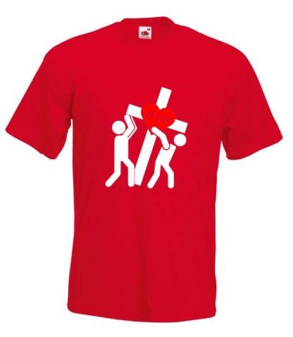 Jesus Carrying Cross Red Tee