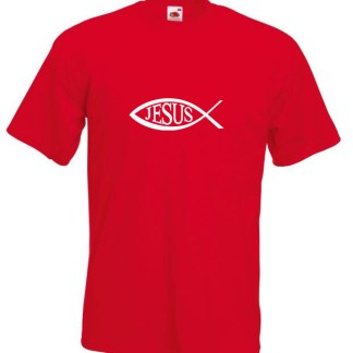 Jesus Name In Fish Red T-shirt