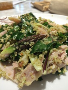 Adding quinoa and chicken, bulks up this salad into a substantial dinner!