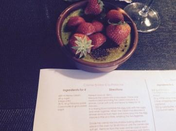 Pistachio Creme Brûlée With strawberries