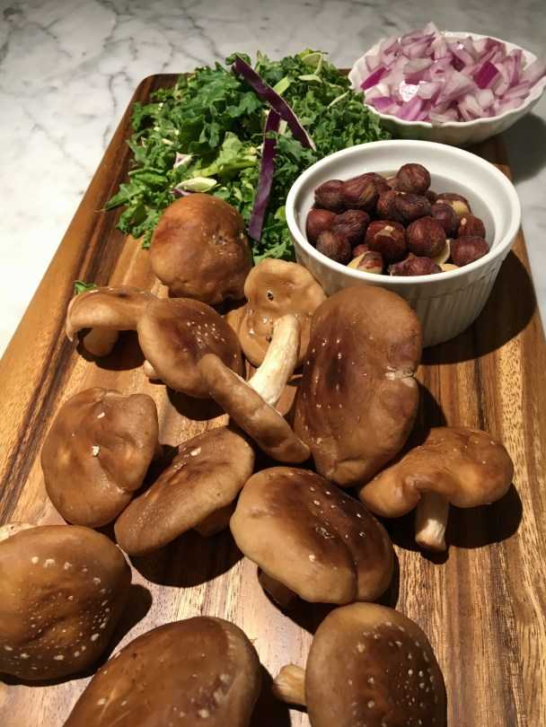 Mushrooms, Greens, Hazelnuts and Onions.