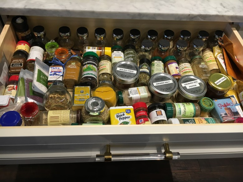I store my spices in a drawer. It makes it easier to organize;)