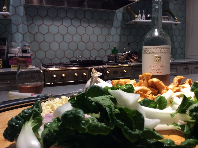 Baby bok choy and chanterelle mushrooms. Don't forget the wine!