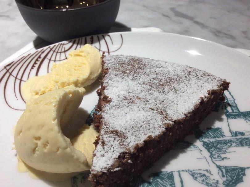 Chocolate and Ricotta Cake! Served warm with vanilla ice cream:)