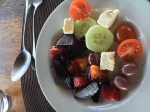 Mixed bowl of veggies and feta