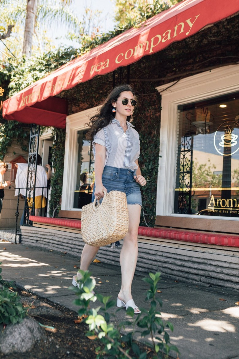 Los Angeles blogger, RELish By Arielle, wears a button-down shirt from Madewell