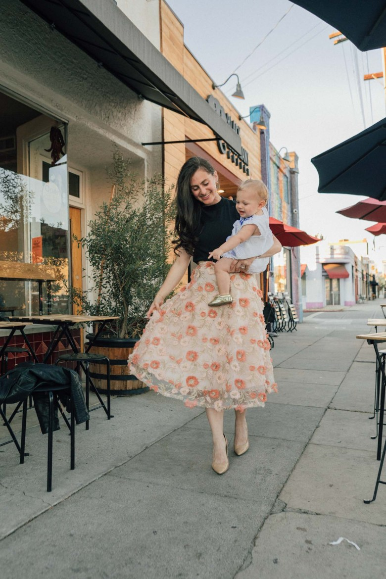 Los Angeles blogger, RELish By Arielle, wears a floral skirt chicwish