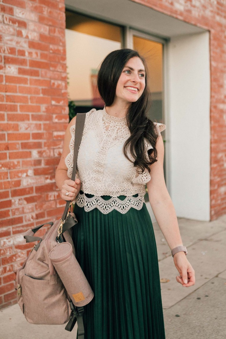 RELish By Arielle wears a lassig diaper bag