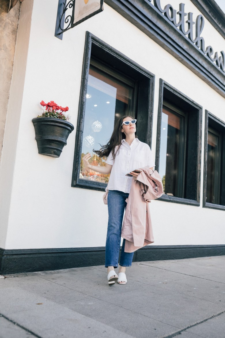 Los Angeles blogger, RELish By Arielle wears a pink trench coat from chicwish