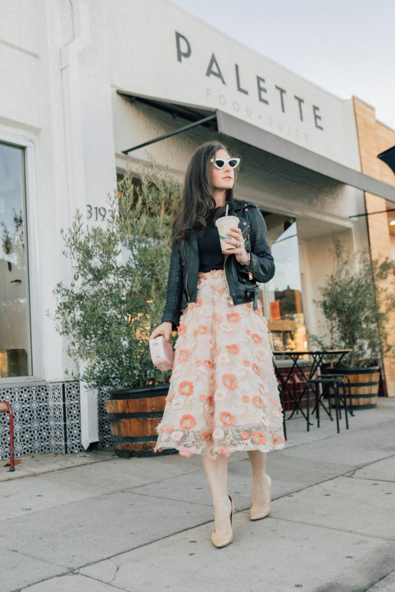 Los Angeles blogger, RELish By Arielle, wears a 3D floral chicwish dress