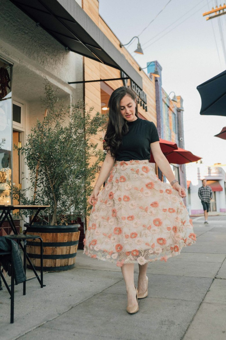 Los Angeles blogger, RELish By Arielle, wears a Chicwish skirt