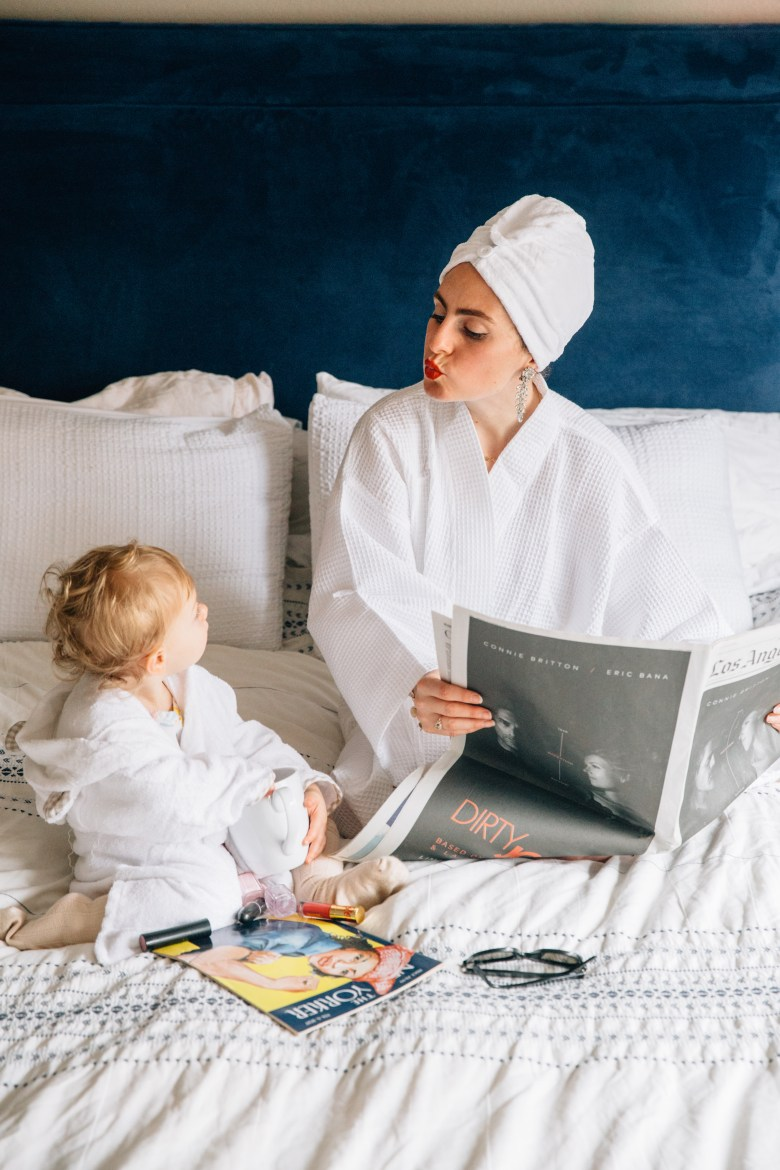 Los Angeles mom blogger, RELish By Arielle and her daughter wear matching robes for Valentine's Day
