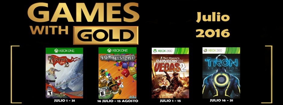 Games with Gold Julio 2016 Banner