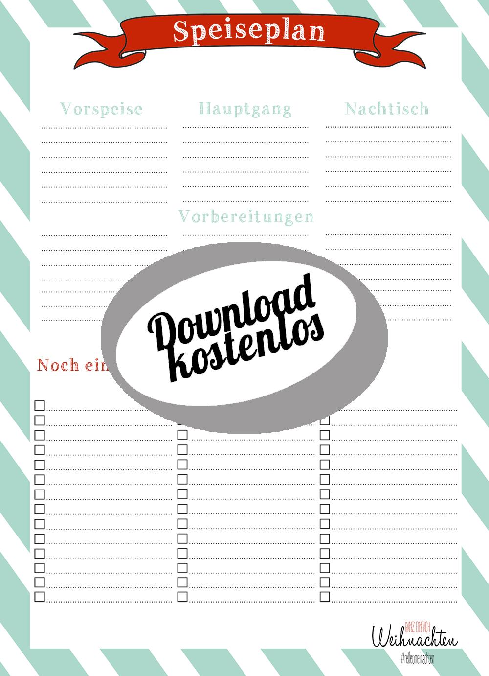 Kostenloser Download Weihnachtsspeiseplan Speiseplan   relleomein.de