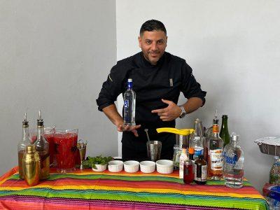 Mike and his drink-balancing skills