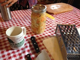 During the hands-on portion of the workshop we made a mixed vegetable ferment with carrots, napa cabbage, radishes, salad turnips and onions. The onions came to dominate the flavor but have mellowed out while fermenting.