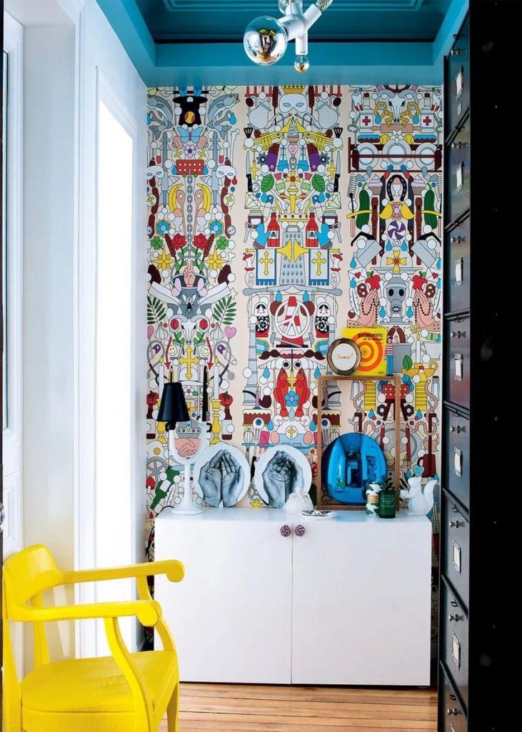 Couloir couleur style pop