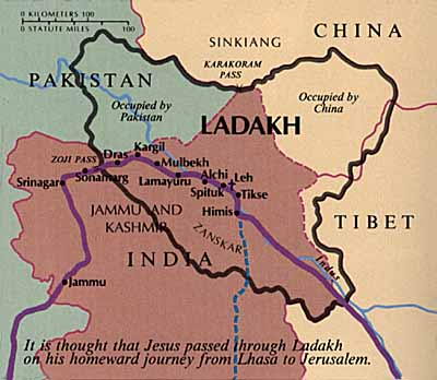 Itinerario di Jesus in Kashmir