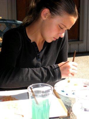 Balcony Girls doing art