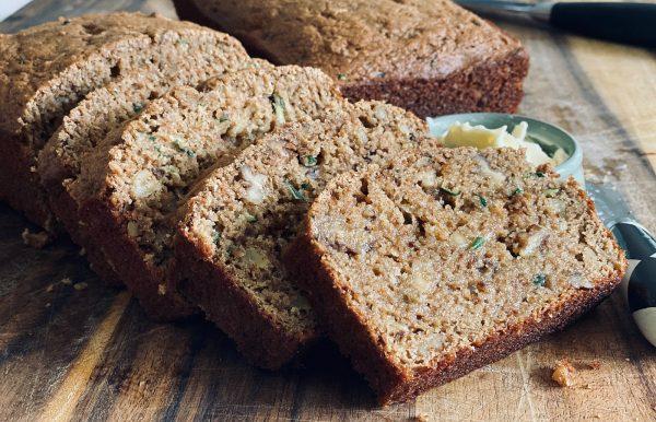 slices of baked, warm Organic Zucchini Applesauce Bread