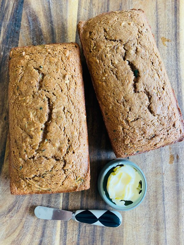 2 loaves of baked Organic Zucchini Applesauce Bread