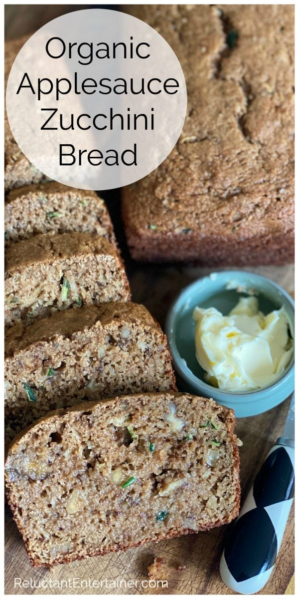 slices of Organic Zucchini Applesauce Bread with butter