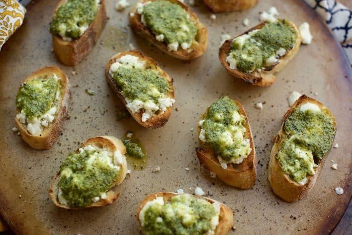 Pesto Tartine Appetizer Recipe