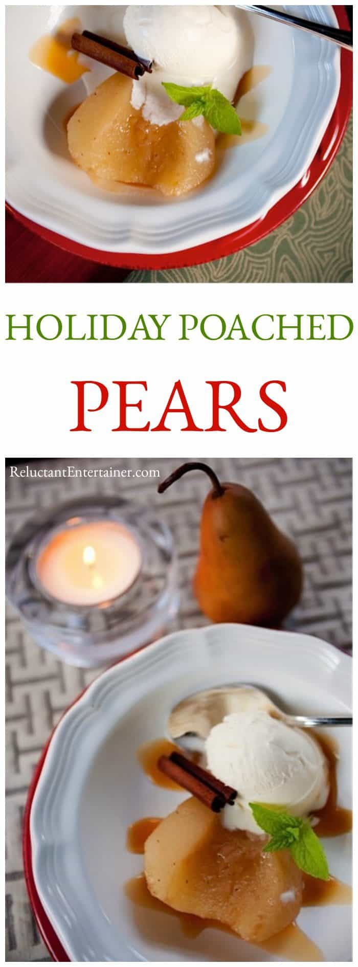 plated Holiday Poached Pears