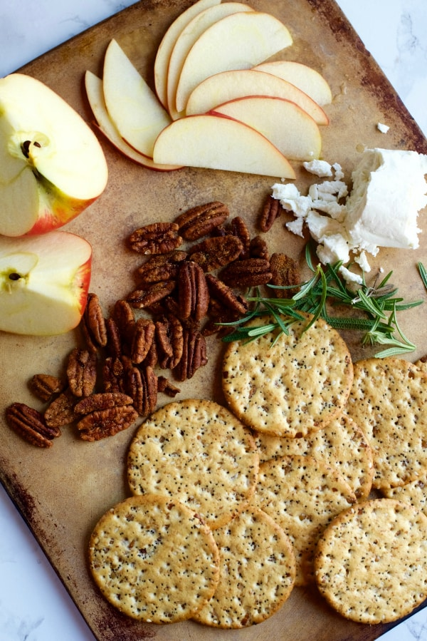 Goat Cheese, Honey Crisp Apples, Honey, Rosemary Thins