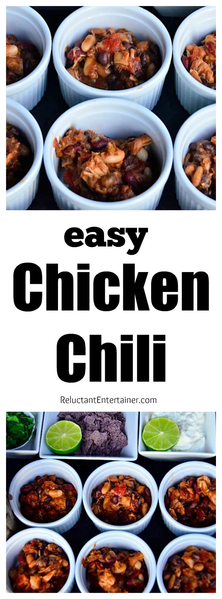 Easy Chicken Chili Recipe at ReluctantEntertainer.com
