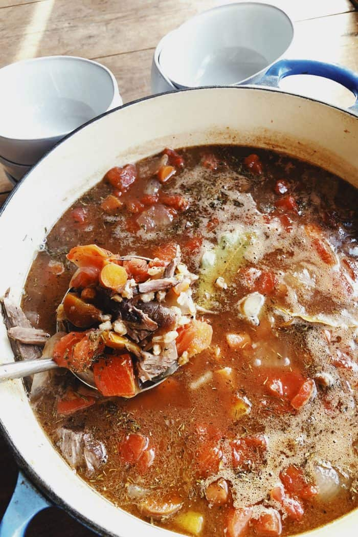 The Pioneer Woman's Perfect Pot Roast Turned into Soup is the best pot of deliciousness you can bring to a potluck, or serve for dinner! Earlier this week we made a pot roast, and then took the leftovers, adding herbs and farro, for the most delicious soup recipe! ENJOY!
