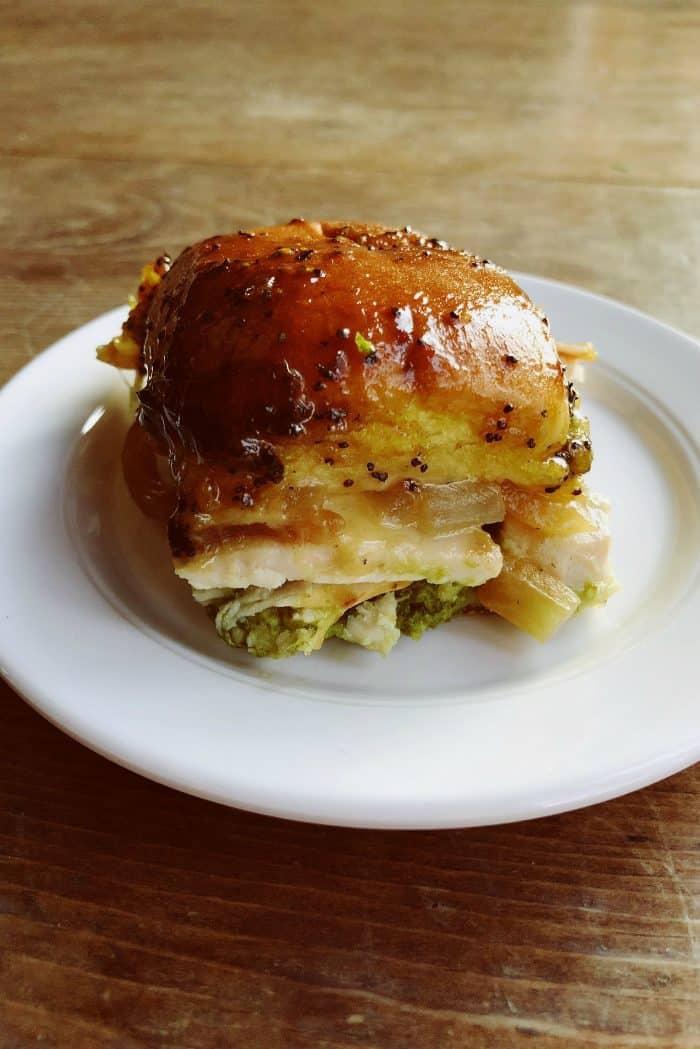 Turkey Pesto Onion Cheese Poppyseed Sliders Recipe