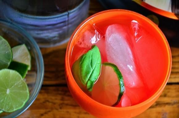 Beverage station with fresh basil