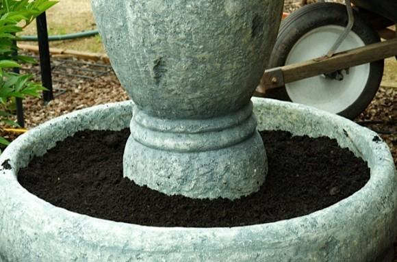 Repurposing fountain to flower pot